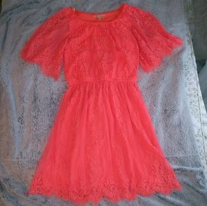 Neon coral lace dress
